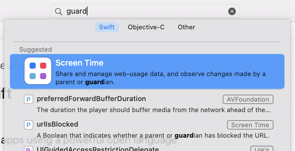 Xcode documentation viewer showing meaningless results when searching for 'guard'