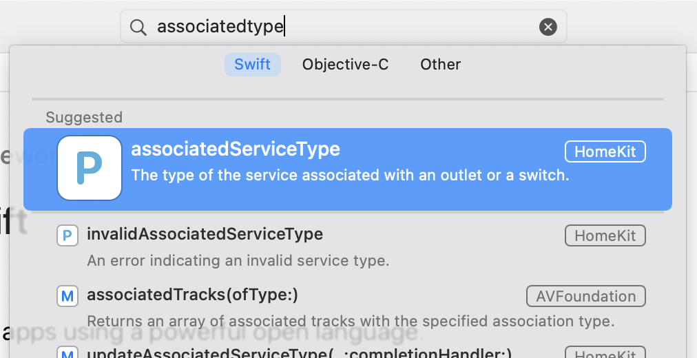Xcode documentation viewer showing meaningless results when searching for 'associatedtype'